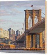 Brooklyn Bridge At Sunset Wood Print