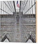 Brooklyn Bridge Flag Wood Print