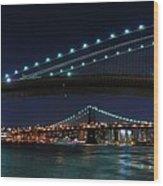 Brooklyn Bridge Full Moon Wood Print