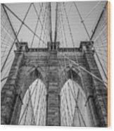 Brooklyn Bridge Goes Up Wood Print
