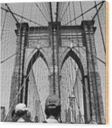 Brooklyn Bridge In Black And White Wood Print