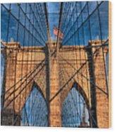 Brooklyn Bridge In The Golden Light Wood Print