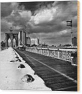 Brooklyn Bridge Wood Print by Luca Baldassari