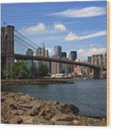 Brooklyn Bridge - New York City Skyline Wood Print