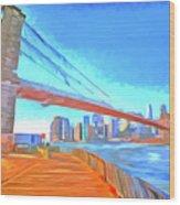 Brooklyn Bridge New York Pop Art Wood Print