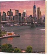 Brooklyn Bridge Over New York Skyline At Sunset Wood Print