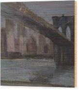 Brooklyn Bridge Painting Wood Print