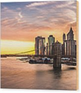 Brooklyn Bridge Panorama Wood Print
