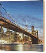 Brooklyn Bridge Panoramic At Night, New York, Usa Wood Print