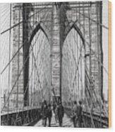 Brooklyn Bridge Promenade 1898 - New York Wood Print