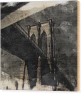 Brooklyn Bridge Reflection Abstract Wood Print