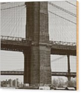 Brooklyn Bridge River Cafe Wood Print