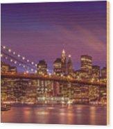 Brooklyn Bridge Sunset - Panorama Wood Print