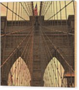 Brooklyn Bridge Sunset Wood Print