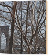 Brooklyn Bridge Thru The Trees Wood Print