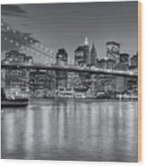 Brooklyn Bridge Twilight II Wood Print by Clarence Holmes