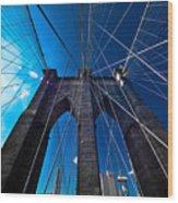 Brooklyn Bridge Vertical Wood Print by Thomas Splietker