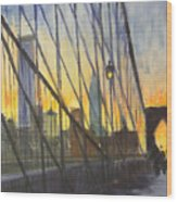 Brooklyn Bridge Wires Wood Print