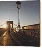 Brooklyn Brige Sunset Wood Print