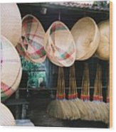 Brooms And Baskets Wood Print