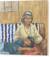 Brother Wolf - Grandmother's Lap Wood Print by Brandy Woods