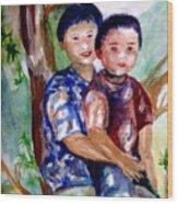 Brothers Bonding Wood Print