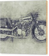 Brough Superior Ss100 - 1924 - Motorcycle Poster 1 - Automotive Art Wood Print
