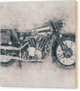 Brough Superior Ss100 - 1924 - Motorcycle Poster - Automotive Art Wood Print