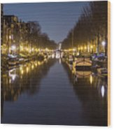 Brouwersgracht Canal In Amsterdam At Night. Wood Print