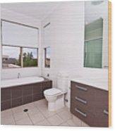 Brown And White Bathroom Wood Print