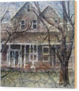 Brown Batik House Wood Print