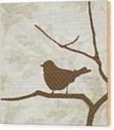 Brown Bird Silhouette Modern Bird Art Wood Print