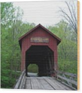 Brown County Covered Bridge Wood Print by Beverly Cazzell