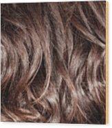 Brown Curly Hair Background Wood Print