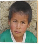 Brown Eyed Bolivian Boy Wood Print