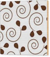 Brown Floral Wood Print by Frank Tschakert