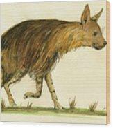 Brown Hyena Animal Art Wood Print