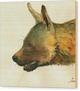 Brown Hyena Wood Print