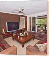 Brown Living Room Wood Print