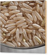 Brown Rice In Bowl Wood Print by Steve Gadomski
