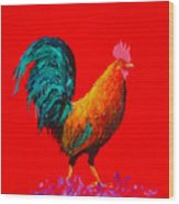 Brown Rooster On Red Background Wood Print