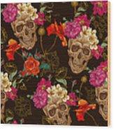 Brown Skulls And Flowers Wood Print