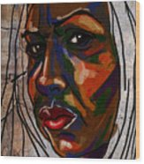 Brown Woman On Stone Wood Print