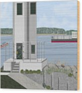 Browns Point Lighthouse On Commencement Bay Wood Print