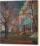 Brownstones At Lafayette Park Wood Print
