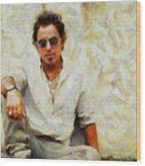 Bruce Springsteen Wood Print by Elizabeth Coats