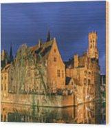Bruges At Night, Belgium Wood Print