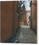 Bruges Orange Street Wood Print