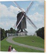 Bruges Windmill Wood Print