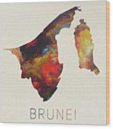 Brunei Watercolor Map Wood Print